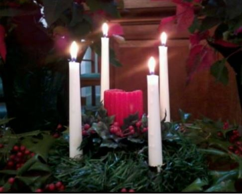 Advent wreath, candles